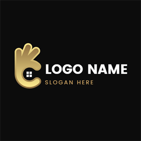 Abstract Golden Hand and Ok logo design