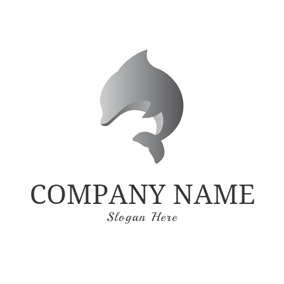 Abstract Gray Dolphin logo design