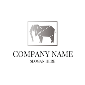 Abstract Gray Elephant Icon logo design