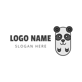Abstract Gray Panda logo design