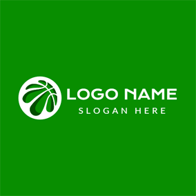 Abstract Green Basketball logo design