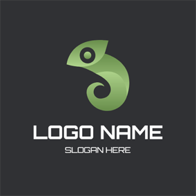 Abstract Green Chameleon Icon logo design