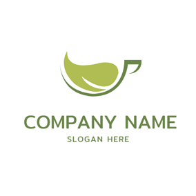 Abstract Green Tea Cup logo design