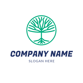 Abstract Green Tree logo design