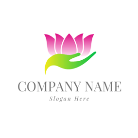 Abstract Hand and Beautiful Lotus logo design