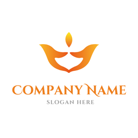 Abstract Hand and Candle logo design