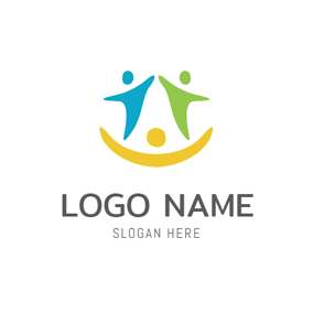 Abstract Happy Family Icon logo design