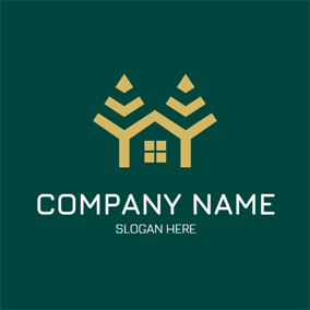 Abstract House and Tree logo design