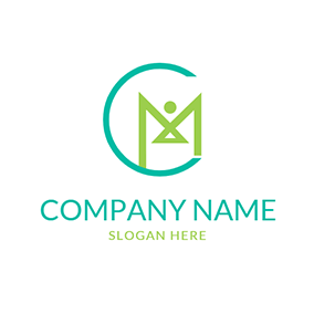 Abstract Human and C M logo design