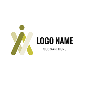 Abstract Human and Letter V A logo design