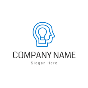 Abstract Human Head and Bulb logo design