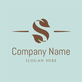 abstract khaki letter s logo design