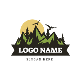 Abstract Mountain and Forest logo design