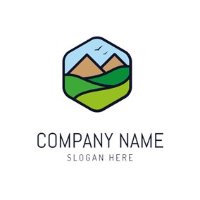Abstract Mountain and Park logo design
