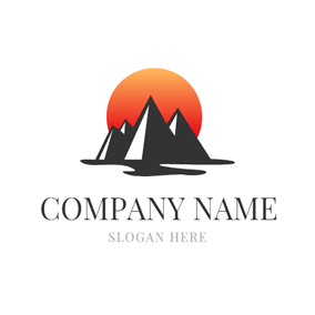 Abstract Mountain and Sunrise logo design