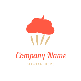 Abstract Orange Cupcake Icon logo design