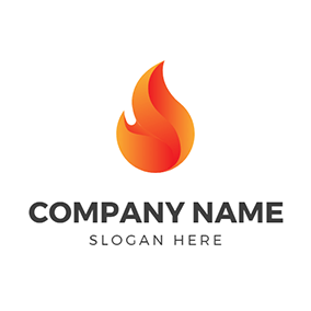 Abstract Orange Fire Flame logo design