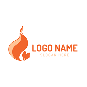Abstract Orange Fox Tail logo design