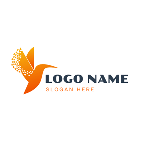 Abstract Orange Hummingbird logo design