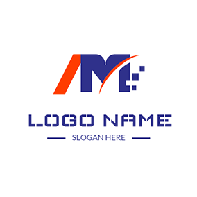 Abstract Partition Letter A M logo design