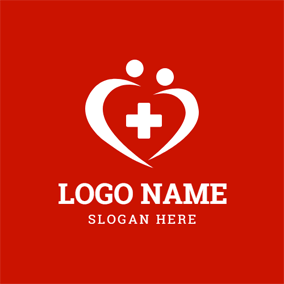 Abstract People and Heart Shaped logo design