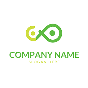 Abstract People Infinity Letter P C logo design