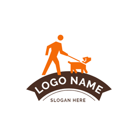 Abstract Person and Dog logo design