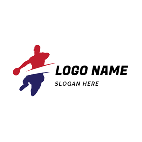 Abstract Player and Handball logo design