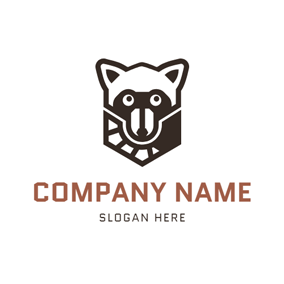 Abstract Raccoon Tail and Raccoon logo design