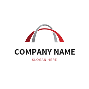 Abstract Red and Gray Arch logo design
