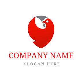 Abstract Red Dove Icon logo design