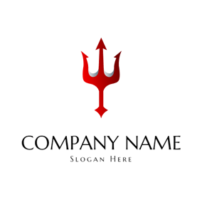 Abstract Red Trident Symbol logo design