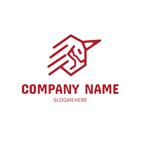 Abstract Red Unicorn and Line logo design