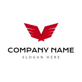 Abstract Red Wing logo design