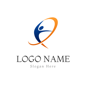 Abstract Ribbon and Gymnastics Athlete logo design
