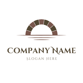 Abstract River and Arch logo design