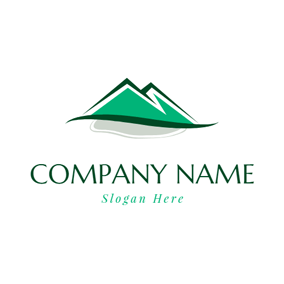 Abstract River and Green Hill logo design