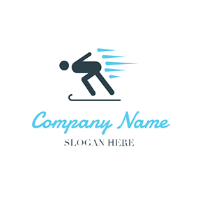 Abstract Ski Athlete and Snowboard logo design