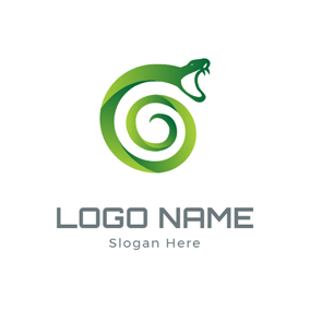 Abstract Spiral Snake logo design