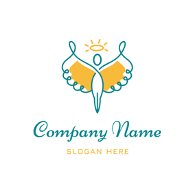 Abstract Wing and Angel Icon logo design