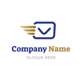Abstract Wing and Blue Envelope logo design