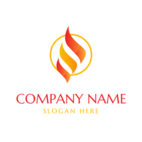 Abstract Yellow and Red Fire logo design