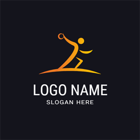 Abstract Yellow Athlete and Handball logo design