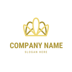 Abstract Yellow Crown logo design