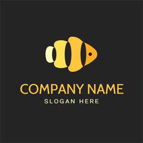 Abstract Yellow Fish logo design