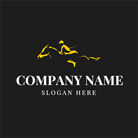 Abstract Yellow Horse and Sportsman logo design