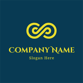 Abstract Yellow Infinity Icon logo design
