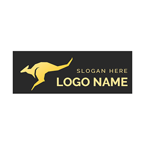 Abstract Yellow Kangaroo Icon logo design