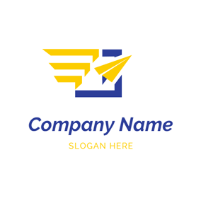 Abstract Yellow Paper Plane logo design