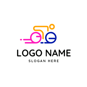 Abstract Yellow Rider and Bike logo design